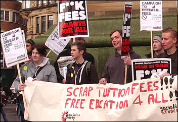 Students and trade unionists marched through Newcaste on the Campaign to Defeat Fees day of action, photo Northumbria Socialist Students