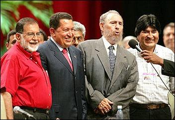 Fidel Castro with Venezuela president Hugo Chavez and Bolivian president Evo Morales