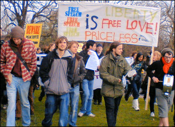 100 Nottingham University students demonstrated against restrictions on the right to protest