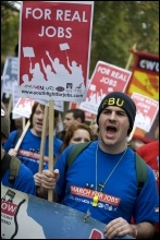 Jarrow March 2011: Jarrow March for Jobs arrives in London, photo Paul Mattsson