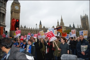 The Jarrow March for Jobs 2011 ends with a demonstration in London on 5 November , photo Sujeeth