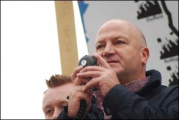 Bob Crow, Rail, Maritime and transport workers union RMT, addresses the Jarrow March for Jobs 2011 in Trafalgar Square, photo Sujeeth