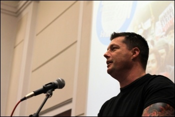 Joe Simpson, POA assistant general secretary, addresses Socialism 2011, photo Senan