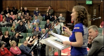 Hannah Sell, deputy general secretary of the Socialist Party, addresses Socialism 2011, photo Senan