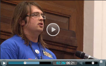 Matt Whale, Jarrow March for Jobs, addresses Socialism 2011, photo Socialist Party