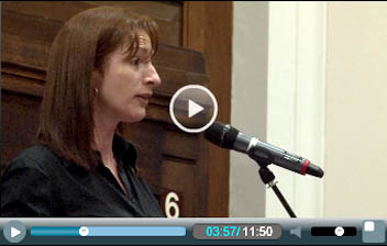 Clare Daly, elected in February as a Socialist Party TD (MP) in Dublin, Ireland addresses Socialism 2011, photo Socialist Party