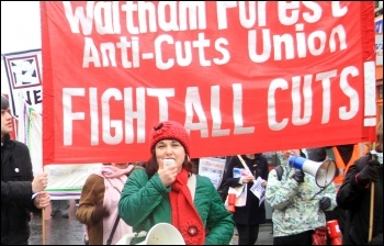 Nancy Taaffe on a Waltham Forest anti-cuts protest, photo Senan