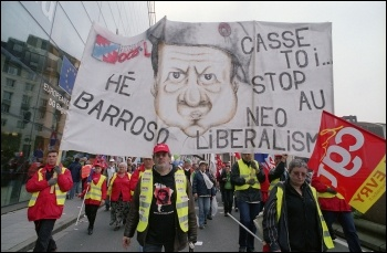 Workers from European countries protest against the European Union neoliberalism and austerity cuts, photo Paul Mattsson