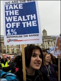 Jarrow March for Jobs rally in Trafalgar Square, photo Paul Mattsson