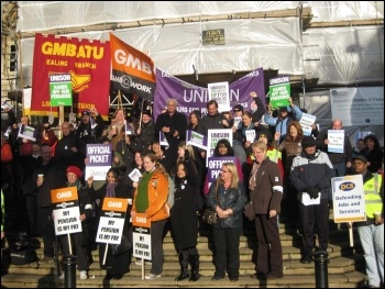 30th November strikers at Ealing town hall, west London, photo Keith Dickinson