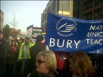 30th November strike demo in Bury, photo Adam Bernard