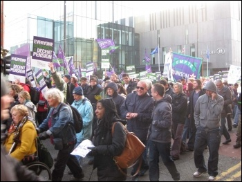 30th November demo in Manchester, photo Hugh Caffrey