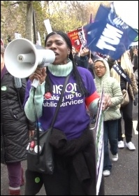 The London demonstration on the 30 November public sector general strike, photo Socialist Party