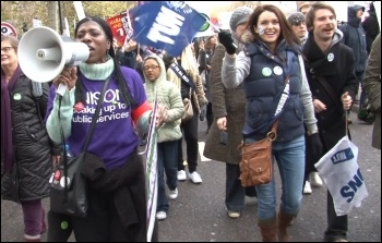 Huge London demonstration on the 30 November public sector strike, photo by  Socialist Party