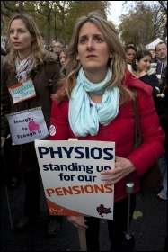 Strikers demonstrating in London, 30.11.11, photo by Paul Mattsson