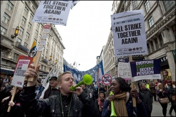 NSSN placards on the November 30th demo in London, photo Paul Mattsson