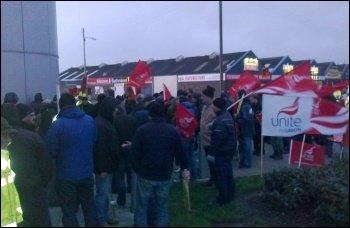 150 electricians outside the BBES HQ in Glasgow 7 December 2011, photo by Phil Stott
