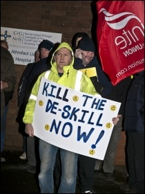 Construction workers protesting in Cardiff, 7.12.11, photo by Socialist Party Wales
