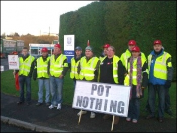 Unilever's Pot Noodle mine came to a grinding halt as the entire shop floor workforce at Unilever's Croespenmaen factory near Crumlin in Gwent walked out on strike, photo Socialist Party Wales