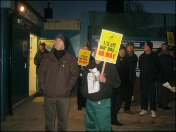 Construction workers' protest at Spie Matthew Hall site, Liverpool John Moores university, 14.12.11, photo by John Marston