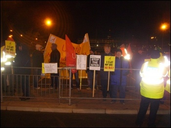 Protesting outside ConocoPhilips' Humber refinery in Immingham, 14.12.11, photo Alistair Tice