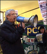 John McInally, vice-president, PCS, addresses hundreds of rank and file union members who protested on the lobby of the TUC's Public Services Liaison Group called by the National Shop Stewards Network, photo  Socialist Party