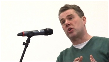 Mark Serwotka, PCS General Secretary, speaking at the PCS Left Unity, photo by  Socialist Party