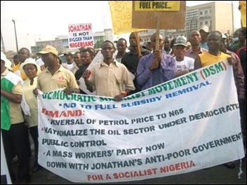 Democratic Socialist Movement (DSM) members in Nigeria, sister party of the Socialist Party in the UK, sell their newspaper on the Lagos demonstration against the removal of fuel subsidy by the Nigerian government