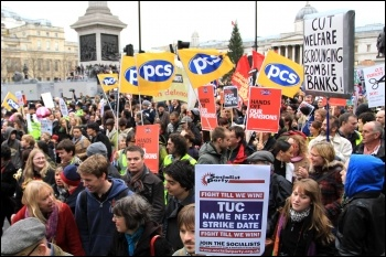 Strikers marching through London on 30 November 2011, photo Senan
