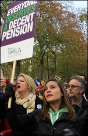 Strikers march through London on the 30 November 2011 'N30' public sector strike, photo Senan