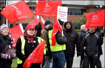 Unilever strikers at Ewloe, north Wales, 18 January 2012, photo Stillshooter