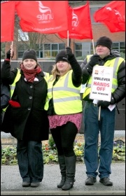 Unilever strikers at Ewloe, north Wales, 18 January 2012, pic Stillshooter