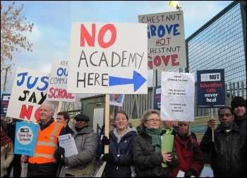 16 February teachers at Chestnut Grove School in Balham, Wandsworth, south London, went on strike to show their opposition to the school becoming an academy.
