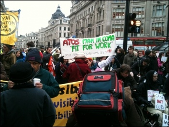 Anti-cuts and disabled activists protesting against the Welfare Reform Bill, London 28.1.12, photo by Ben Robinson