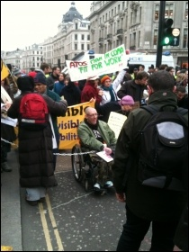 Anti-cuts and disabled activists protesting against Welfare Reform Bill, London 28.1.12, photo by Ben Robinson