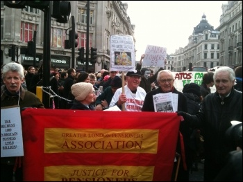 Anti-cuts and disabled activists protesting against Welfare Reform Bill, London 28.1.12, photo Ben Robinson