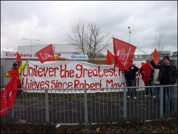 Unilever workers striking for their pensions, Gloucester, 25.1.12, photo Chris Moore