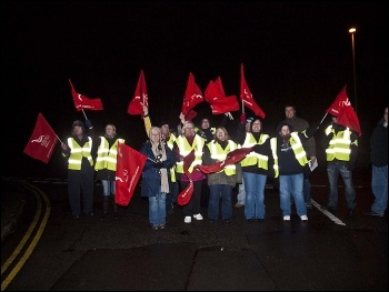 Unilever strike, Crumlin plant in south Wales, 6.30am on 26.1.12, photo by Caerphilly Socialist Party