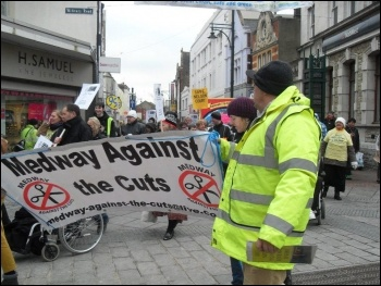 Marching in Chatham against closure of Balfour Centre, 4.2.12 , photo by P. Walker