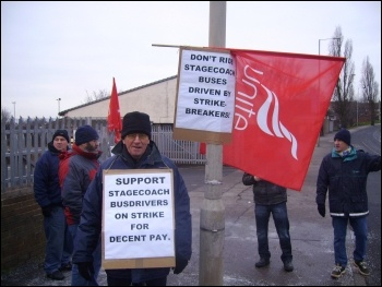 Stagecoach drivers' strike, day 11,  8.2.12, Rotherham depot, photo by Alistair Tice