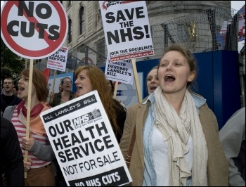 NHS protest against Lansley's bill in London May 2011, photo by Paul Mattsson