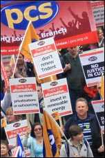 Part of the PCS contingent on the massive 26 March TUC demonstration , photo Senan