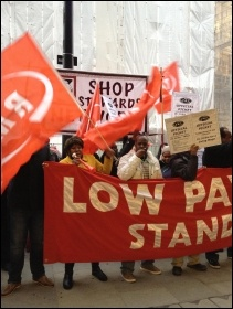 Initial cleaners on strike at St Pancras station, London 16.2.12, photo by Suzanne Beishon
