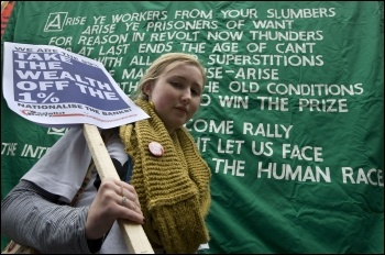 Jarrow demonstration: we are the 99% Take the wealth off the 1%, photo Paul Mattsson