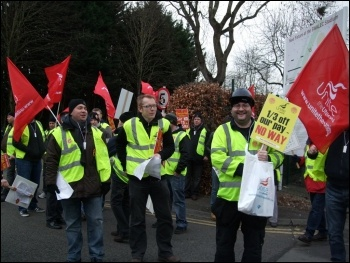 Sparks and supporters protesting outside Wales Labour Party conference, Feb 2012, photo K Williams