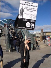 Westfield Workhouse protest, Stratford, London, 25.2.12, photo Suzanne Beishon