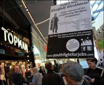 Youth Fight for Jobs protest against Workfare in Stratford's Westfield shopping centre in London 25 February 2012, photo Senan