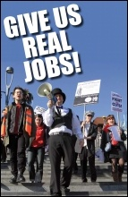 Give us real jobs! Youth Fight for Jobs protest against Workfare in Stratford's Westfield shopping centre in London 25 February 2012, photo Senan