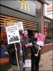 Protesting against workfare in Wakefield, February 2012, photo Iain Dalton