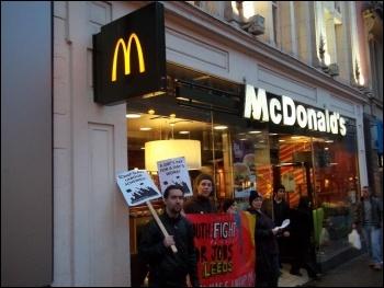 Protesting against the government's slave labour workfare scheme outside McDonald's, Leeds, Feb 2012, photo Iain Dalton